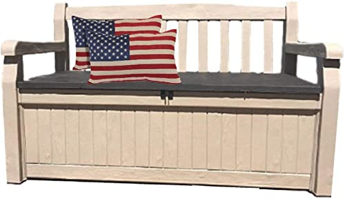 50 Inch Wide Storage Bench Outdoor Love-seat All Weather Deck Box