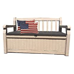 50 Inch Wide Storage Bench Outdoor Loveseat Deck Box Slat Style Farmhouse Waterproof Arm Lockable Seat & eBook
