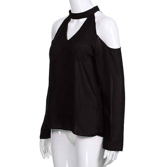 Mujer blusa fiesta,Sonnena ❤ Camisa sexy fuera del hombro de mujer Blusa de manga larga Blusa halter con cuello en V Blusas: Amazon.es: Hogar