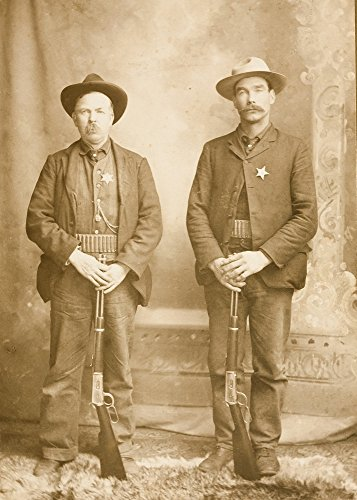 Mustachioed Lawmen Posing Proudly With Their Winchester Model 94 Lever-Action Rifles Each Wears A Cartridge Belt Around His Waist And A Shiny Star Pinned Over His Heart Poster Print by W H Wolverton (