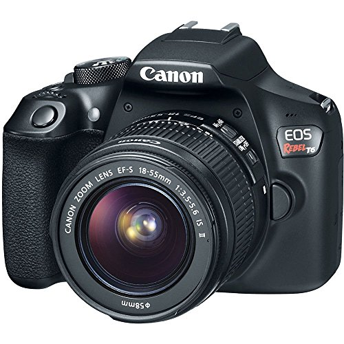 Canon EOS Rebel T6 Digital SLR Camera Kit with EF-S 18-55mm f/3.5-5.6 is II Lens, Built-in WiFi and NFC - Black (Renewed) (Mirrorless Camera With Viewfinder And Built In Flash)