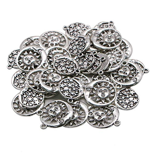 Moon Face Charm - JETEHO 36pcs 2 Styles Sun Framed by Moon Charm Pendant Star and Crescent Moon Face Pendant Charms(Antique Silver)