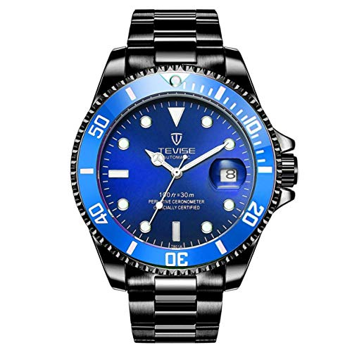 Swiss Luminous Submariner Watch Men's Automatic Mechanical Watch Fashion Stainless Steel Waterproof Watch (Black - Blue)