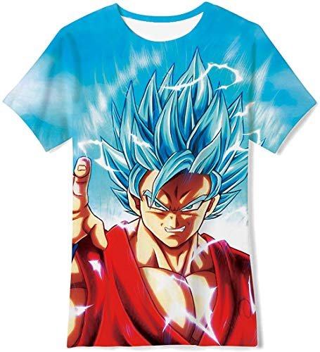 OPCOLV Boys' Teens 3D Printed T-Shirts Dragon Ball z Cool Digital Graphic Tee Shirts with Short Sleeve 14-16 Years -