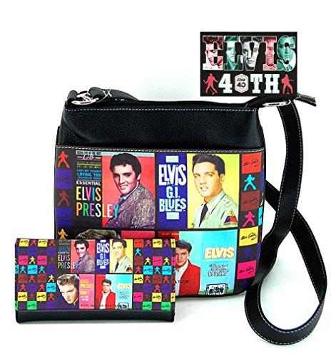 Elvis Presley Messenger Bag and Wallet Set, Collage