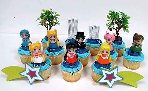 SAILOR MOON and Friends Birthday Party Cupcake Topper Set (Sailor Decorations)