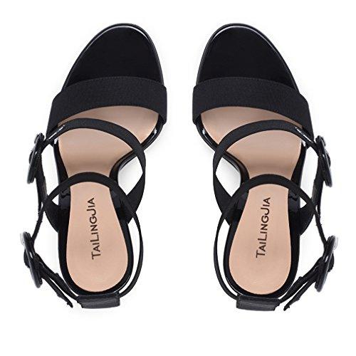 Tacón Señoras Mujeres Gran Zapatos Sky La Hebilla black Clover Heels Alto a Plataforma Tamaño eu42 Sandalias Correa Bombas Lucky Stiletto Corte high De Fiesta wnIqOzvwF