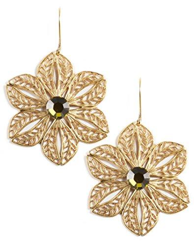 Clara Beau Tabac color Swarovski Glass Crystal Goldtone Filigree Flower Earrings E881 (Mother Nature Costume Homemade)