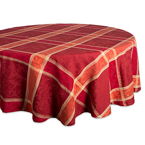Harvest Tablecloth - DII CAMZ37786 Round Harvest Wheat Jacquard Tablecloth, 70