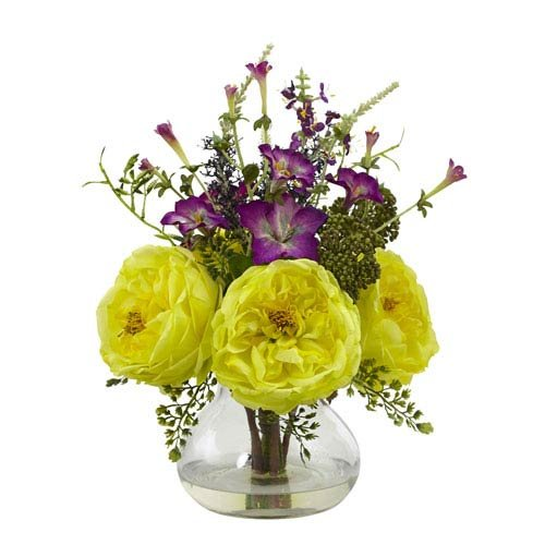 Nearly Natural 1413-YL Rose and Morning Glory Arrangement with Vase