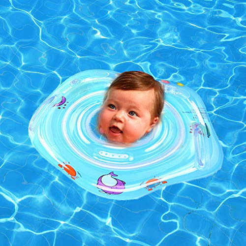 Baby Swimming Neck Float Ring, 2019 Thicken Kids Swim Ring with Inflatable Double airbag Summer Water Sport Bathtub Pool Toys for Infant Toddler Swim Trainer 0 Months to 18 Months (Baby Ring Blue)