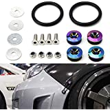 iJDMTOY Universal Fit Neo Chrome Finish JDM Quick Release Fastener Kit for Car Bumper Trunk Fender Hatch Lid