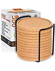 Cork Coasters with Lip for Drinks Absorbent | 12 Set 4 Inch Thick Rustic Saucer with Metal Holder Eco-Friendly, Heat & Water Resistant | Best Reusable Natural Round Coasters for Bar Glass Cup Table