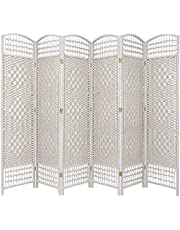 Oriental Furniture Least Expensive Most Affordable Large Room Divider, 5.5-Feet Open Diamond Weave Natural Fiber Folding Screen, White, 6 Panel Size