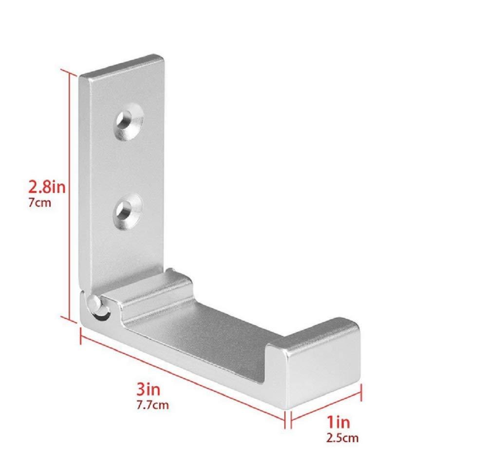Sulin 5Pcs Foldable Wall Mount Hooks Headphones Holder Wall Hanger Aluminum Wallmount Home Decor,Silver