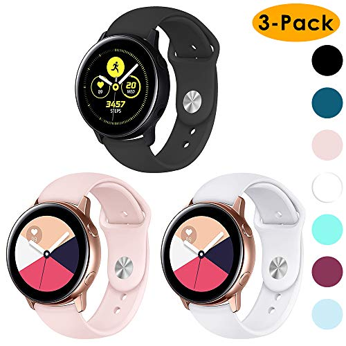 EZCO 3-Pack Active Sport Bands Compatible with Samsung Galaxy Watch/Galaxy Watch 42mm/Gear, 20mm Soft Waterproof Silicone Sport Watch Strap Replacement Wristband Compatible Galaxy Watch 42mm R810