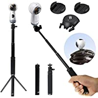 EEEKit 3 in 1 Basic Selfie Kit for Samsung Gear 360 2017/2016 Edition Ricoh Theta V/S/SC, Extend Selfie Stick Monopod, Mini Tripod Stand, Adhesive Quick Release Flat and Curved Mount