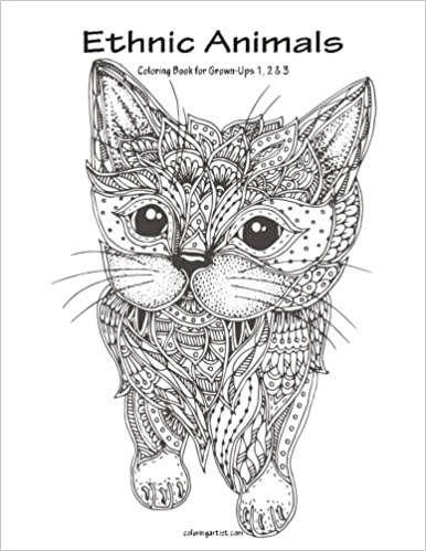 Amazon Com Ethnic Animals Coloring Book For Grown Ups 1 2 3