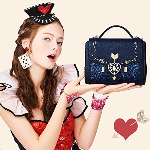 Flèche Sac Bleu Drill Sac Lolita Cosplay Bandoulière Coeur Main Sacs Une Main WKNBEU Fente à Blue Diagonale PU à Impression Femmes TH6wOEwqp