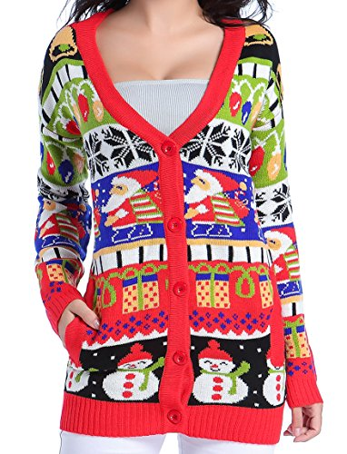 v28 Christmas Sweater Cardigan, Women Girls Ugly Fun Long Knit Colorful Sweaters (Large, ()