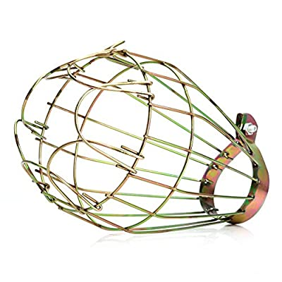 Feamos New Industrial Brass Wire Bulb Cage, Clamp On Lamp Guard, Vintage Trouble Lights