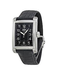 Oris Automatic Black Dial Black Leather Mens Watch 561-7657-4034LS