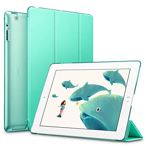 (ESR Yippee Smart Case for iPad 2 3 4, Smart Case Cover [Synthetic Leather] Translucent Frosted Back Magnetic Cover with Auto Sleep/Wake Function [Light Weight] (Mint Green))