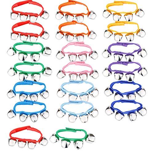 Augshy 20 Pcs Wrist Band Jingle Bells Musical Rhythm Toys,9 Colors,Children's Instruments for School