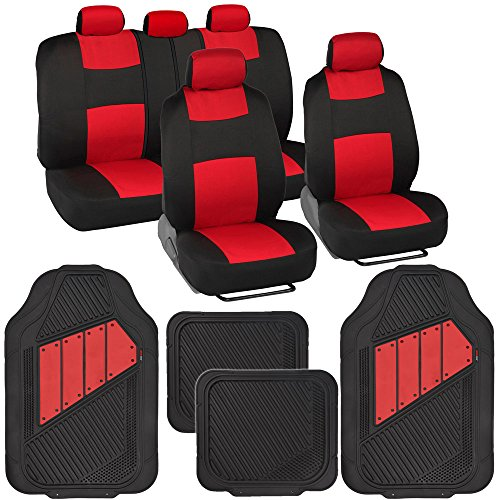 Two-Tone PolyCloth Car Seat Covers w/ Motor Trend Dual-Accent Heavy Duty Rubber Floor Mats -