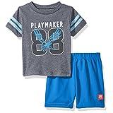 BON BEBE Baby Boys' 2 Pc Crew Neck Tee and Mesh Short Set, Playmaker Grey, 24 Months