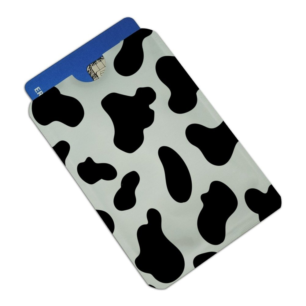 Cow Print Black White Credit Card RFID Blocker Holder Protector Wallet Purse Sleeves Set of 4