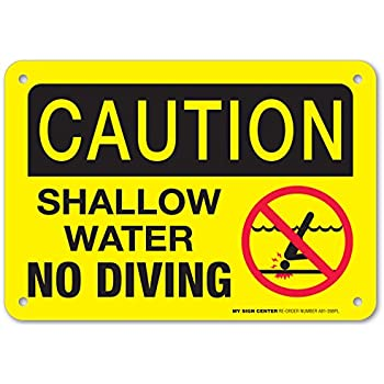No Diving Pool Safety Sign With Image Stick On Vinyl Swimming Pool Signage