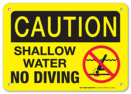 Caution Shallow Water No Diving - Pool Rules Sign - 7