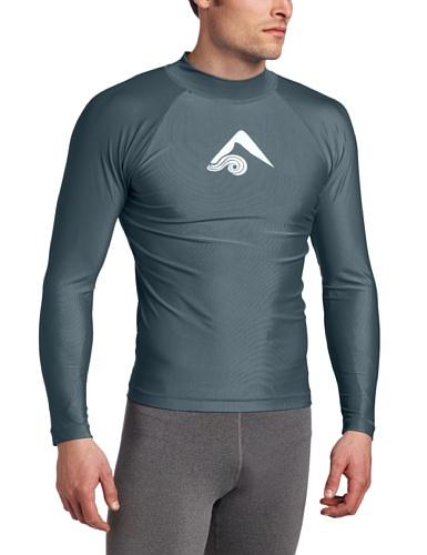 Kanu Surf Men's Long Sleeve Platinum UPF 50+ Rashguard Swim Tee, Charcoal, Large
