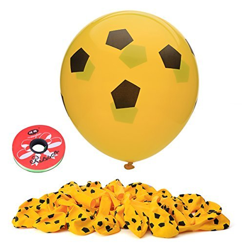 Home Kitty 100 Pack Gold Color Football Balloons -12 Inches Latex Party Balloons with a Gift - 1 Pack Curling Ribbon