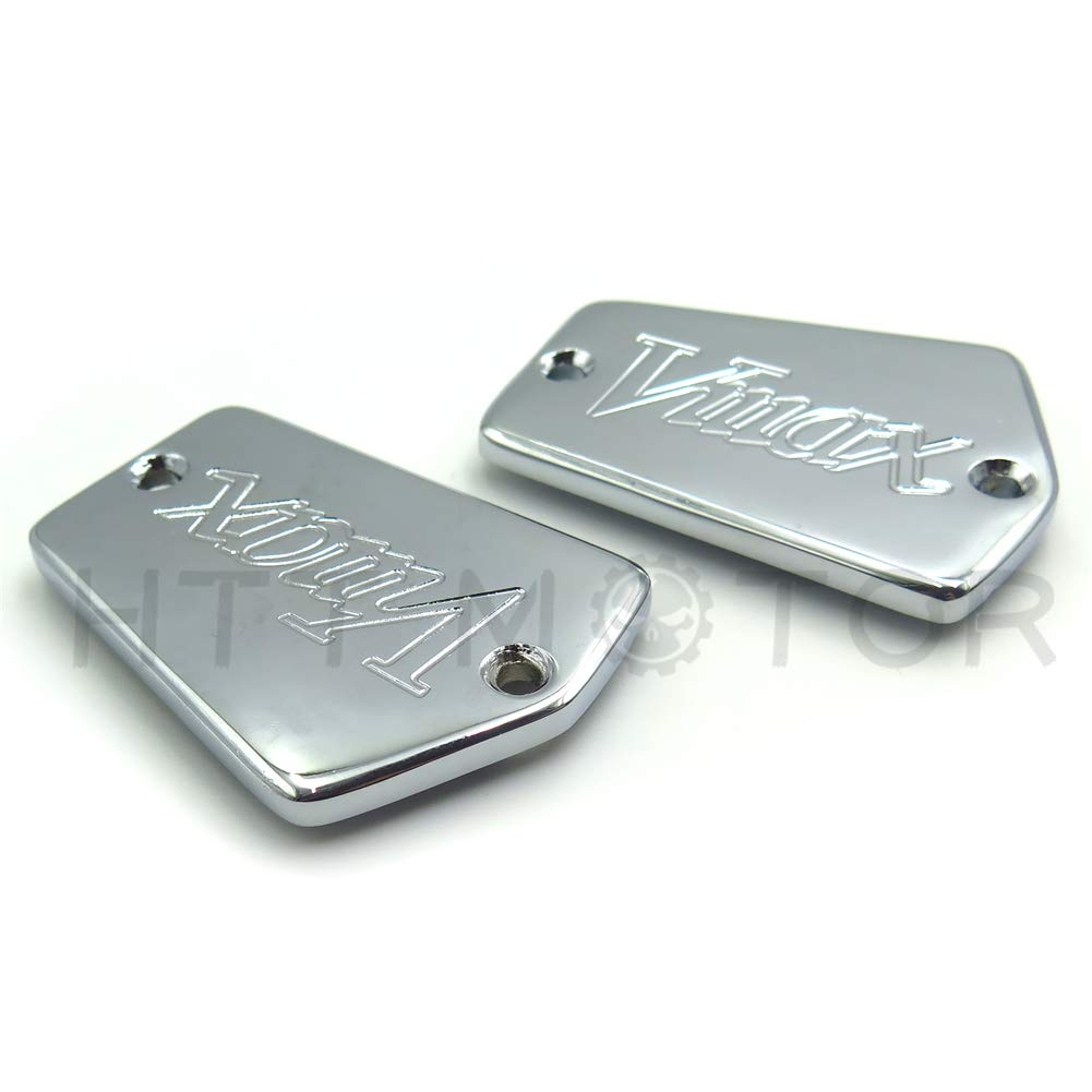 TTMT HTT Group Motorcycle Chrome Billet Aluminum Fluid Reservoir Cap Cover Vmax Engraved For 1985-2007 Yamaha V-Max