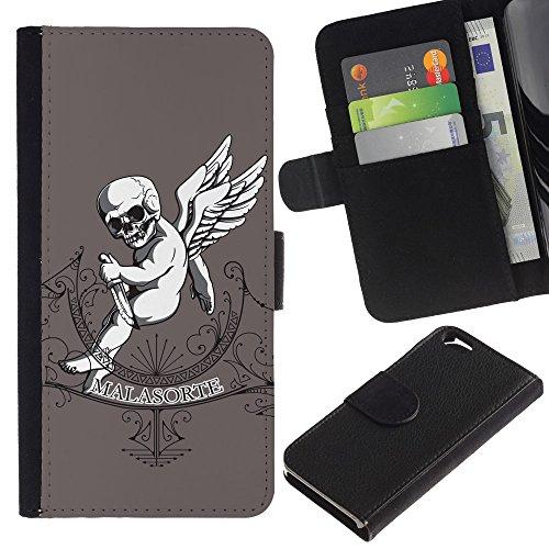 EuroCase - Apple Iphone 6 4.7 - Malasorte - Evil Goth Baby - Cuir PU Coverture Shell Armure Coque Coq Cas Etui Housse Case Cover