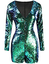 Women Mardi Gras's Sparkly Sequin V Neck Party Clubwear...