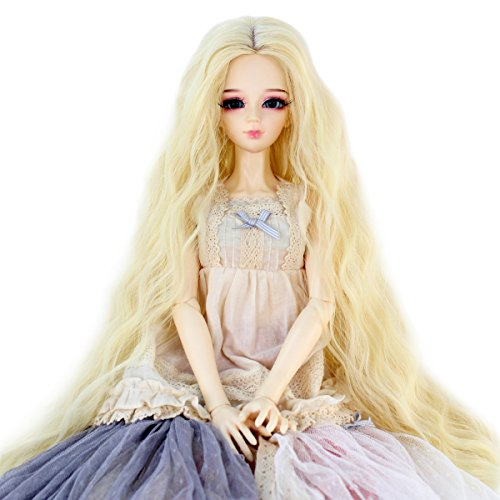 Long Kinky Curly 9-10inch 1/3 BJD MSD DOD Dollfie Doll Hair Wig Centre Parting Hair Accessories Not for Human (beige)
