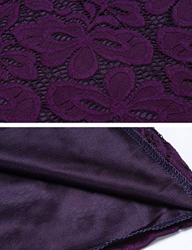 Cocktail Formal ACEVOG Women Sleeve Swing Shoulder Vintage Short Floral Off Purple Dress Lace qFgz81xwq
