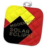3dRose Alexis Design - Art - Modernist Solar Eclipse Art - 8x8 Potholder (phl_271749_1)