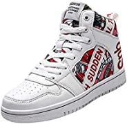 RUNSOON Men's Women's Skateboard Basketball Sport Shoes High Top Sneakers Snow Boots for Coupl