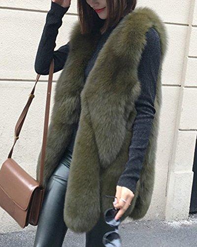 Faux Di Falso Lunghe Lungo Verde Esercito Maniche Pelliccia Fur Senza Donna Sintetica Cappotto Giacca Giubbotto Invernale Giacchetto Gilet Parka qE7gnt