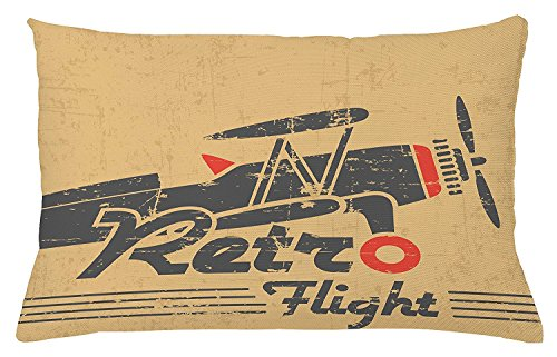 Vintage Airplane Throw Pillow Cushion Cover, Retro Flight Emblem with Old Plane Stripes Grunge Style, Decorative Square Accent Pillow Case, 30 X 20 Inches, Sand Brown Grey Vermilion (Style Emblem Accent)