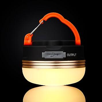 Portátil Recargable Luz de Emergencia LED Farol de Camping Tienda de campaña lámpara de luz Resistente al Agua, con imán y Gancho para Senderismo ...