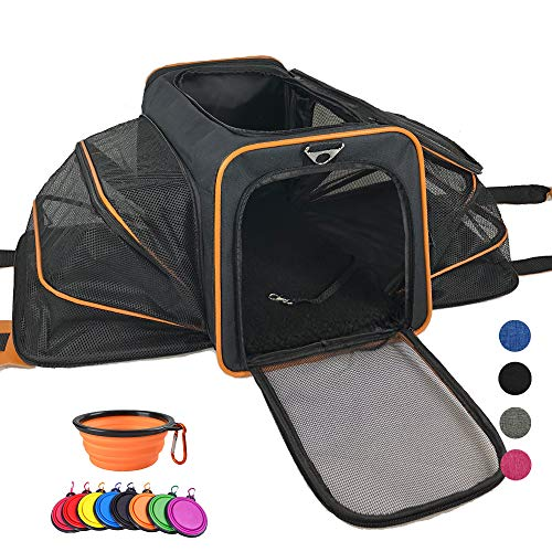 Adorabae Airline Approved Soft Sided Expandable Foldable Luxury Two Side Expansion for Cats and Small Dogs Black
