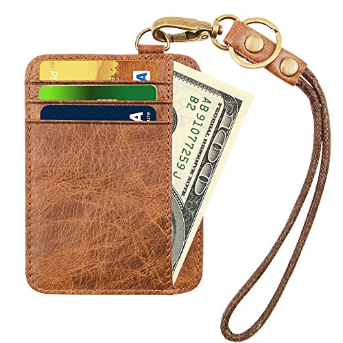 ket Minimalist Inserts Credit Card Mens Wallet Genuine Leather Small Size With Chain (Coffee With Chain) (Chain Front Leather)