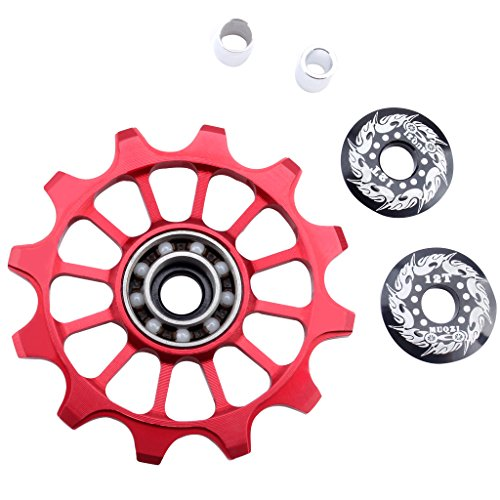 (MonkeyJack Derailleur Pulley 12T Rear Derailleur Jockey Wheel for Road Bike, Mountain Bike, MTB, BMX - Red)