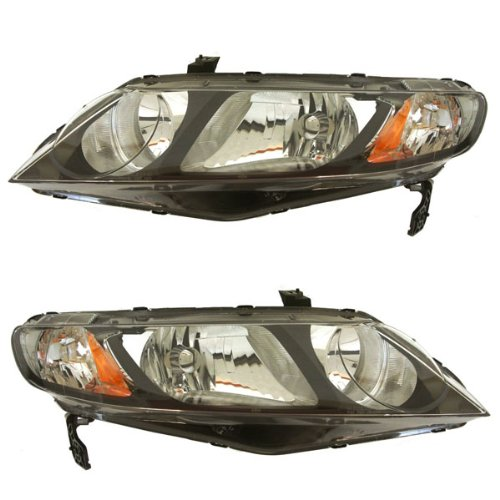 2006-2011 Honda Civic Hybrid & 2009-2011 Civic DX EX GX LX Si 4-Door Sedan Headlight Headlamp Composite Halogen Front Head Light Lamp Set Pair Left Driver And Right Passenger Side (2006 06 2007 07 2008 08 2009 09 2010 10 2011 11) (Headlight Civic Headlamp Honda Sedan)