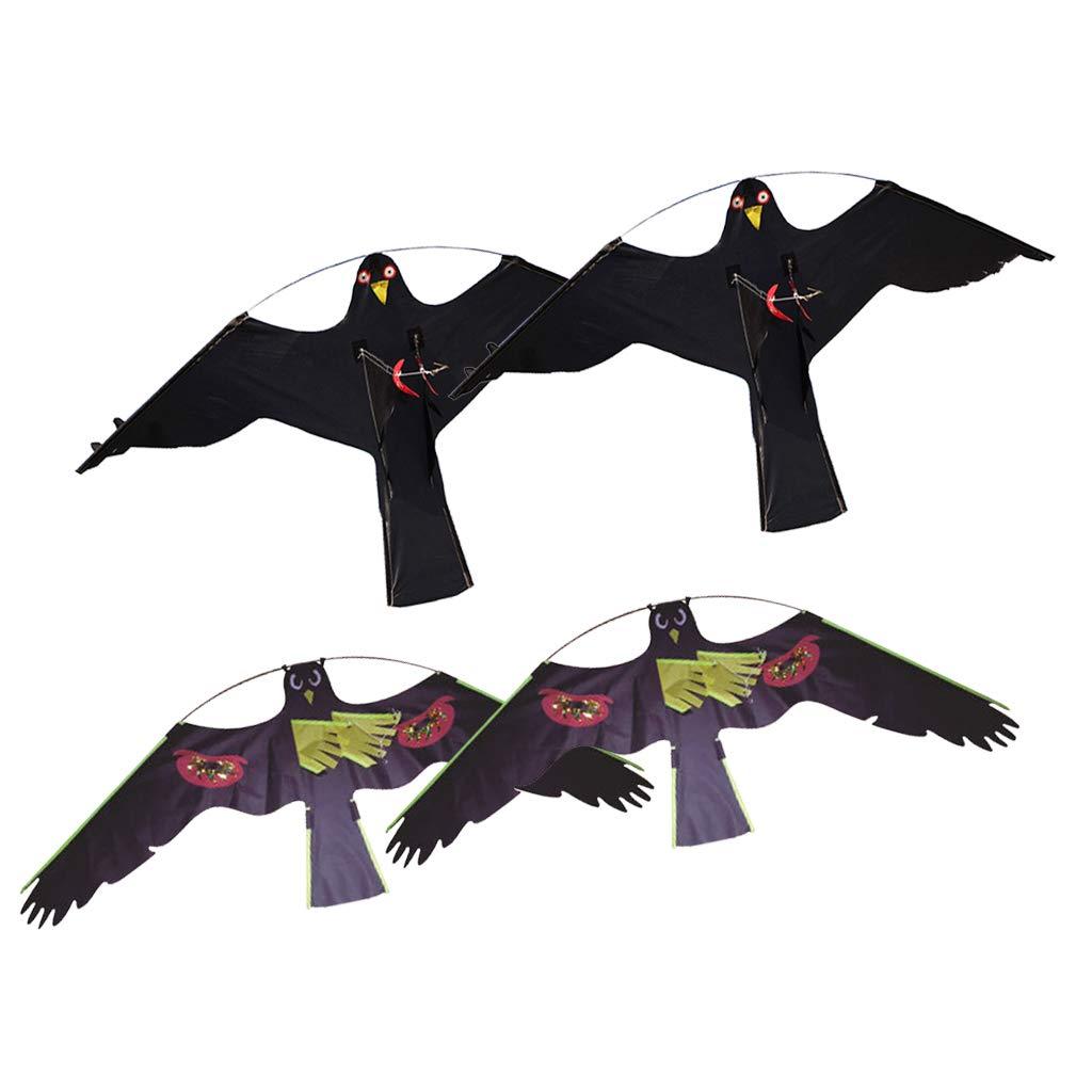 SM SunniMix 4 Pz Grande Falco Aquilone Hawk Uccello Scarer Line Rig Spaventare Uccelli Nero